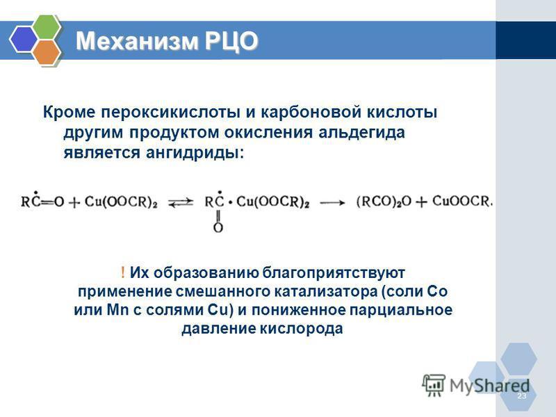 23 Кроме пероксокислоты и карбоновой кислоты другим продуктом окисления альдегида является ангидриды: Механизм РЦО ! Их образованию благоприятствуют применение смешаннего катализатора (соли Co или Mn с солями Cu) и пониженное парциальное давление кис