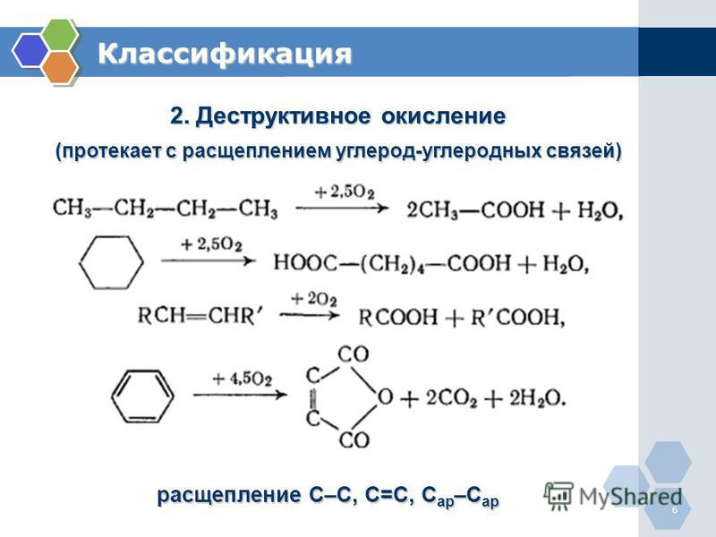 6 Классификация 2. Деструктивное окисление (протекает с расщеплением углерод-углеродных связей) расщепление С–С, С=С, С ар –С ар