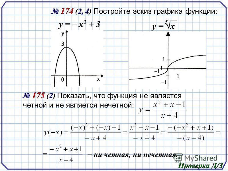у = – х 2 + 3 5 – ни четная, ни нечетная.