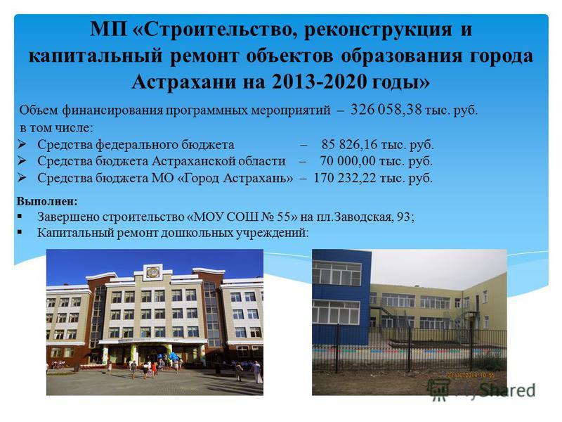 МП «Строительство, реконструкция и капитальный ремонт объектов образования города Астрахани на 2013-2020 годы» Объем финансирования программных мероприятий – 326 058,38 тыс. руб. в том числе: Средства федерального бюджета – 85 826,16 тыс. руб. Средст