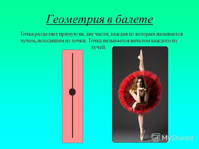 Геометрия в балете Точка разделяет прямую на две части, каждая из которых называется лучом, исходящим из точки. Точка называется началом каждого из лучей.