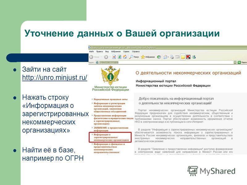 Уточнение данных о Вашей организации Зайти на сайт http://unro.minjust.ru/ http://unro.minjust.ru/ Нажать строку «Информация о зарегистрированных некоммерческих организациях» Найти её в базе, например по ОГРН