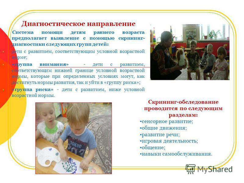 Диагностическое направление Система помощи детям раннего возраста предполагает выявление с помощью скрининг- диагностики следующих групп детей: дети с развитием, соответствующим условной возрастной норме; «группа внимания» - дети с развитием, соответ