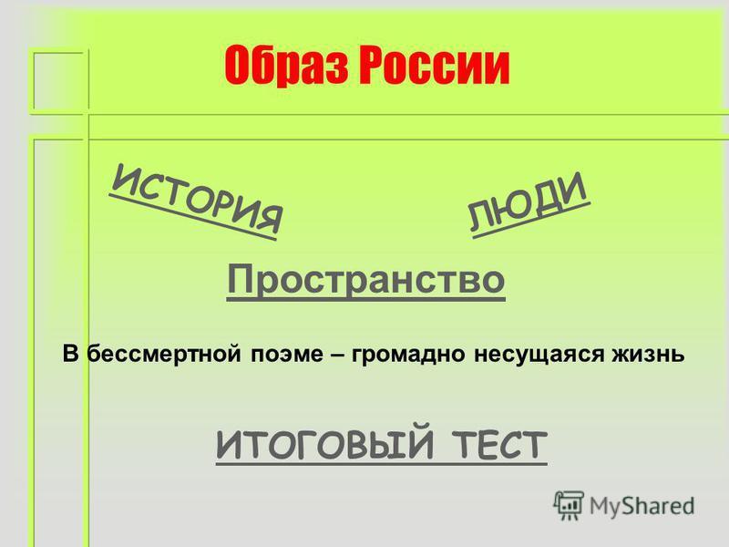 Образ России ИСТОРИЯ ЛЮДИ ИТОГОВЫЙ ТЕСТ Пространство В бессмертной поэме – громадно несущаяся жизнь