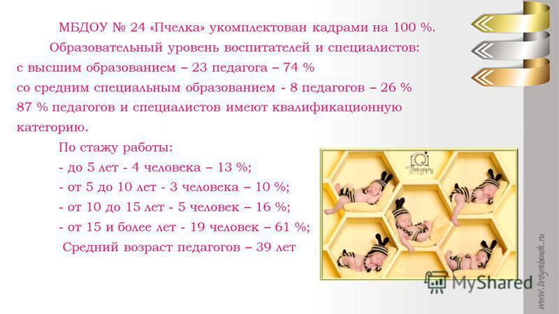 МБДОУ 24 «Пчелка» укомплектован кадрами на 100 %. Образовательный уровень воспитателей и специалистов: с высшим образованием – 23 педагога – 74 % со средним специальным образованием - 8 педагогов – 26 % 87 % педагогов и специалистов имеют квалификаци