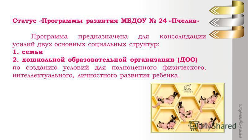 Статус «Программы развития МБДОУ 24 «Пчелка» Программа предназначена для консолидации усилий двух основных социальных структур: 1. семьи 2. дошкольной образовательной организации (ДОО) по созданию условий для полноценного физического, интеллектуально