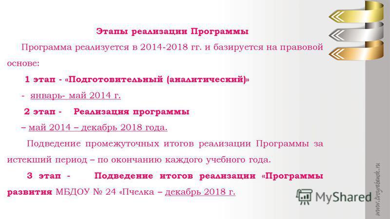Этапы реализации Программы Программа реализуется в 2014-2018 гг. и базируется на правовой основе: 1 этап - «Подготовительный (аналитический)» - январь- май 2014 г. 2 этап - Реализация программы – май 2014 – декабрь 2018 года. Подведение промежуточных