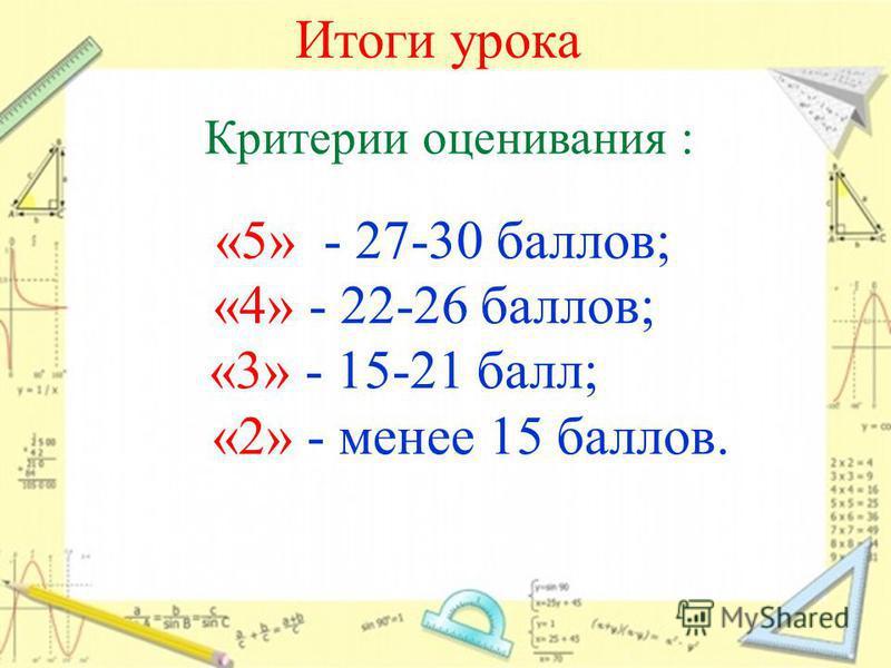 Итоги урока Критерии оценивания : «5» - 27-30 баллов; «4» - 22-26 баллов; «3» - 15-21 балл; «2» - менее 15 баллов.