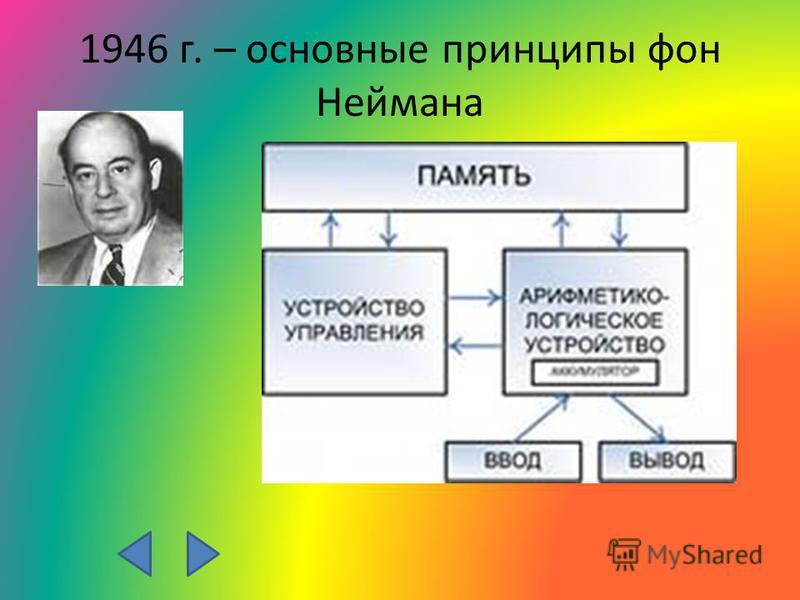 1946 г. – основные принципы фон Неймана