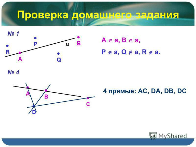 Проверка домашнего задания 1 А а В R Q Р А a, B a, P a, Q a, R a. 4 А B C D 4 прямые: AC, DA, DB, DC