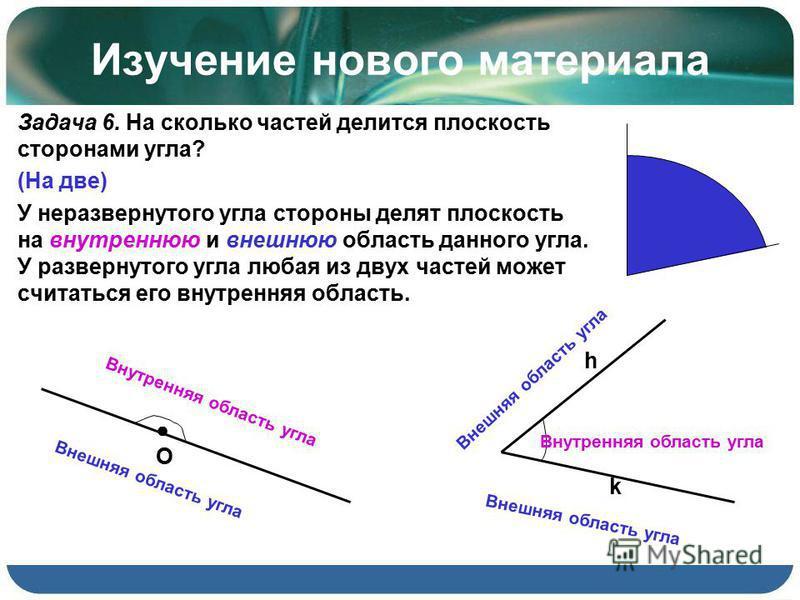 Изучение нового материала Задача 6. На сколько частей делится плоскость сторонами угла? (На две) У неразвернутого угла стороны делят плоскость на внутреннюю и внешнюю область данного угла. У развернутого угла любая из двух частей может считаться его