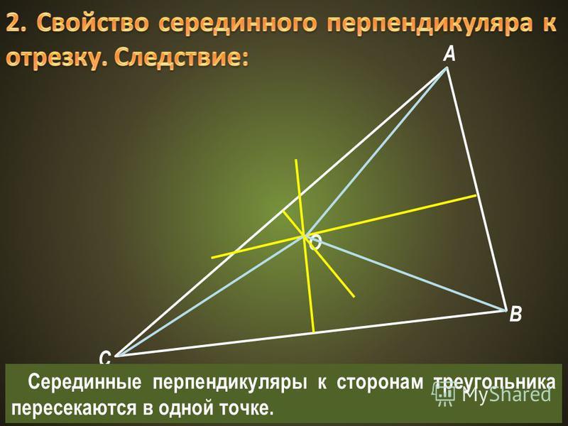 A B C O Серединные перпендикуляры к сторонам треугольника пересекаются в одной точке.