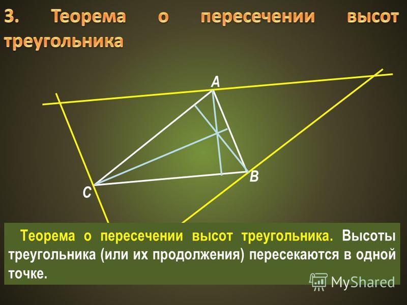 A B C Теорема о пересечении высот треугольника. Высоты треугольника (или их продолжения) пересекаются в одной точке.