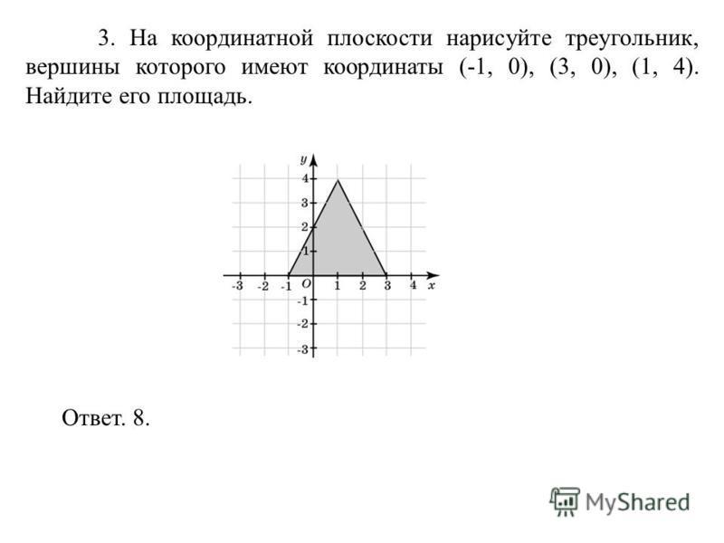 3. На координатной плоскости нарисуйте треугольник, вершины которого имеют координаты (-1, 0), (3, 0), (1, 4). Найдите его площадь. Ответ. 8.