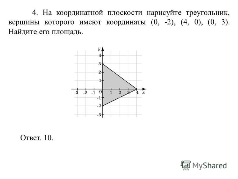 4. На координатной плоскости нарисуйте треугольник, вершины которого имеют координаты (0, -2), (4, 0), (0, 3). Найдите его площадь. Ответ. 10.