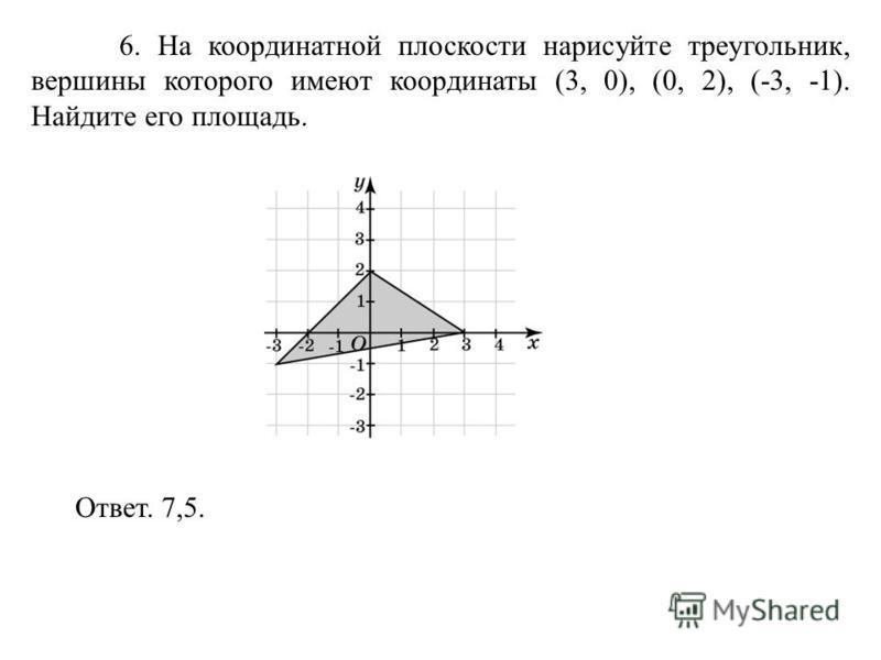 6. На координатной плоскости нарисуйте треугольник, вершины которого имеют координаты (3, 0), (0, 2), (-3, -1). Найдите его площадь. Ответ. 7,5.