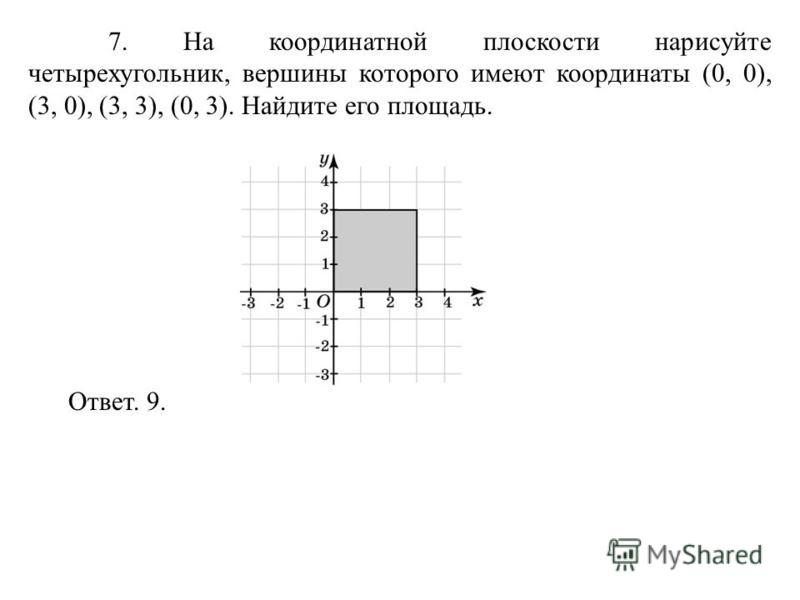 7. На координатной плоскости нарисуйте четырехугольник, вершины которого имеют координаты (0, 0), (3, 0), (3, 3), (0, 3). Найдите его площадь. Ответ. 9.