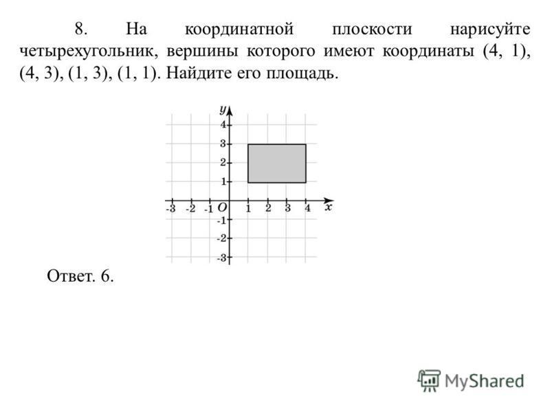 8. На координатной плоскости нарисуйте четырехугольник, вершины которого имеют координаты (4, 1), (4, 3), (1, 3), (1, 1). Найдите его площадь. Ответ. 6.