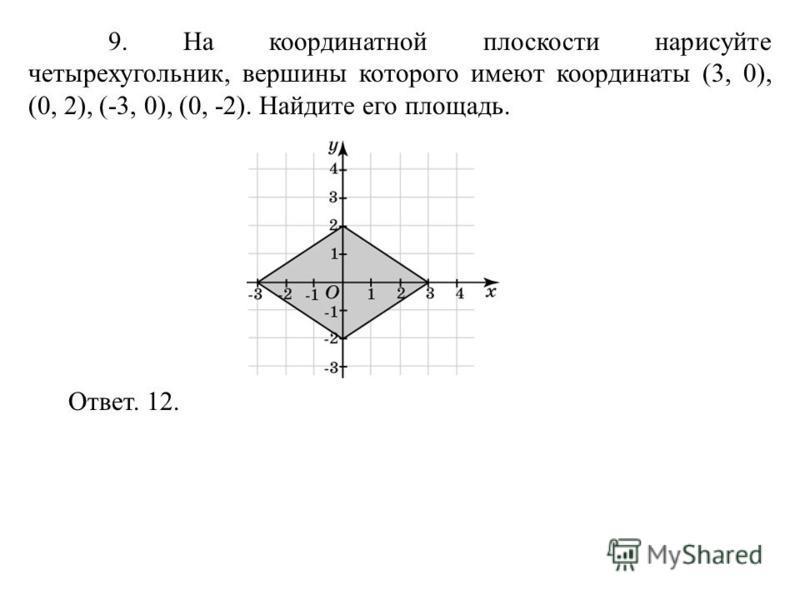 9. На координатной плоскости нарисуйте четырехугольник, вершины которого имеют координаты (3, 0), (0, 2), (-3, 0), (0, -2). Найдите его площадь. Ответ. 12.