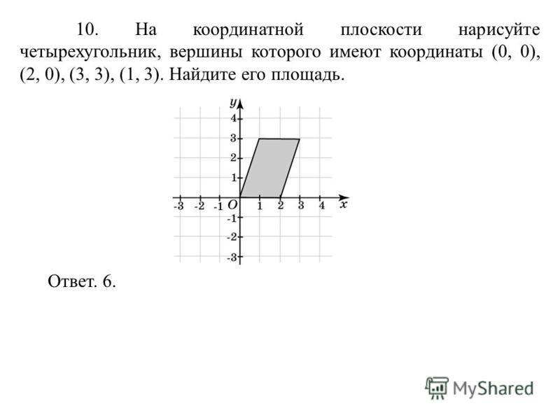 10. На координатной плоскости нарисуйте четырехугольник, вершины которого имеют координаты (0, 0), (2, 0), (3, 3), (1, 3). Найдите его площадь. Ответ. 6.