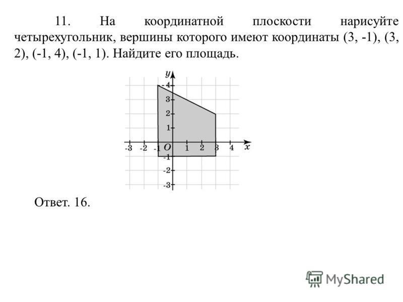 11. На координатной плоскости нарисуйте четырехугольник, вершины которого имеют координаты (3, -1), (3, 2), (-1, 4), (-1, 1). Найдите его площадь. Ответ. 16.
