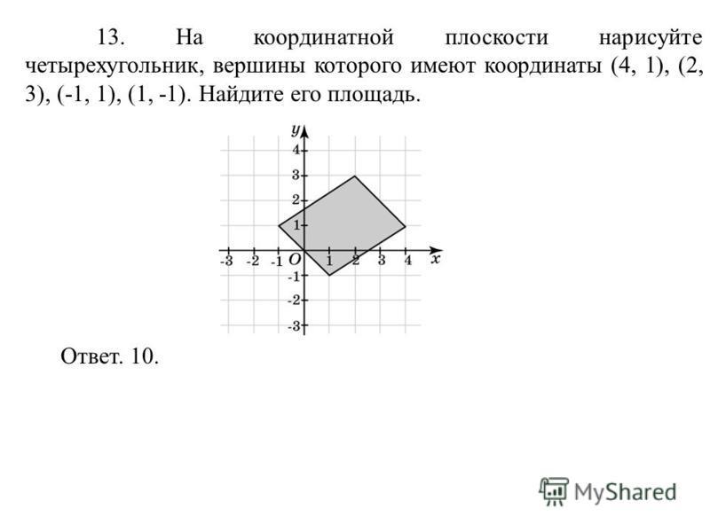 13. На координатной плоскости нарисуйте четырехугольник, вершины которого имеют координаты (4, 1), (2, 3), (-1, 1), (1, -1). Найдите его площадь. Ответ. 10.