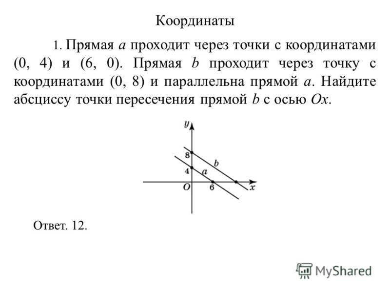 1. Прямая a проходит через точки с координатами (0, 4) и (6, 0). Прямая b проходит через точку с координатами (0, 8) и параллельна прямой a. Найдите абсциссу точки пересечения прямой b с осью Ox. Ответ. 12. Координаты