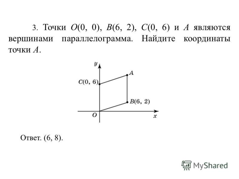 3. Точки O(0, 0), B(6, 2), C(0, 6) и A являются вершинами параллелограмма. Найдите координаты точки A. Ответ. (6, 8).