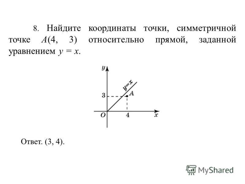 8. Найдите координаты точки, симметричной точке A(4, 3) относительно прямой, заданной уравнением y = x. Ответ. (3, 4).