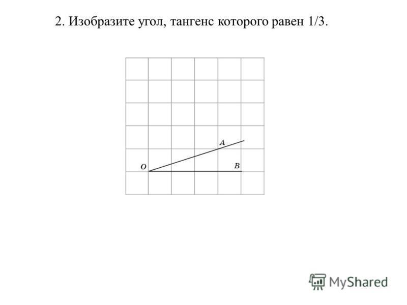 2. Изобразите угол, тангенс которого равен 1/3.