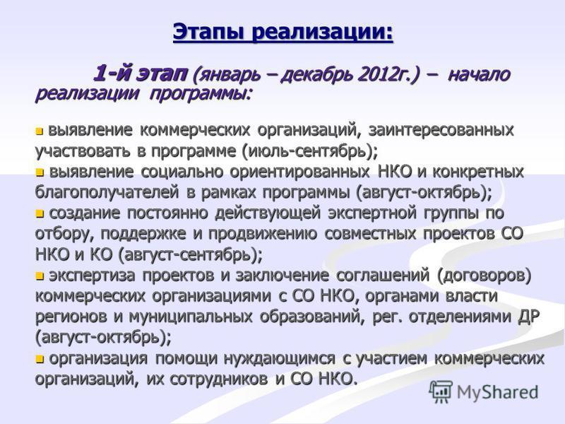 Этапы реализации: 1-й этап (январь – декабрь 2012 г.) – начало реализации программы: выявление коммерческих организаций, заинтересованных участвовать в программе (июль-сентябрь); выявление коммерческих организаций, заинтересованных участвовать в прог