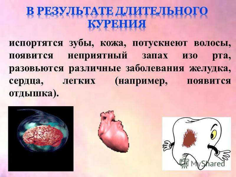 испортятся зубы, кожа, потускнеют волосы, появится неприятный запах изо рта, разовьются различные заболевания желудка, сердца, легких (например, появится отдышка).