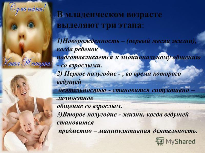 В младенческом возрасте выделяют три этапа : 1)Новорожденность – (первый месяц жизни), когда ребенок подготавливается к эмоциональному общению - со взрослыми. 2) Первое полугодие -, во время которого ведущей деятельностью - становится ситуативно – ли