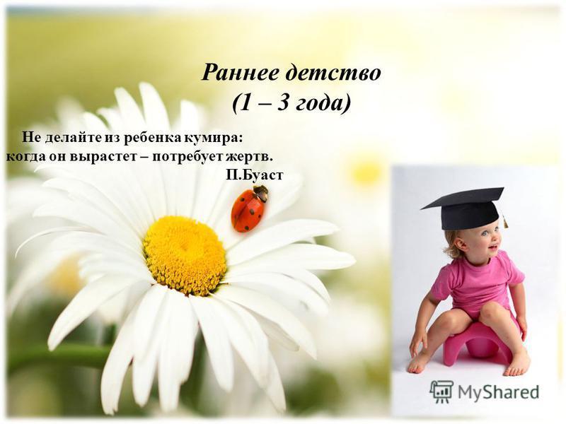 Раннее детство (1 – 3 года) Не делайте из ребенка кумира: когда он вырастет – потребует жертв. П.Буаст