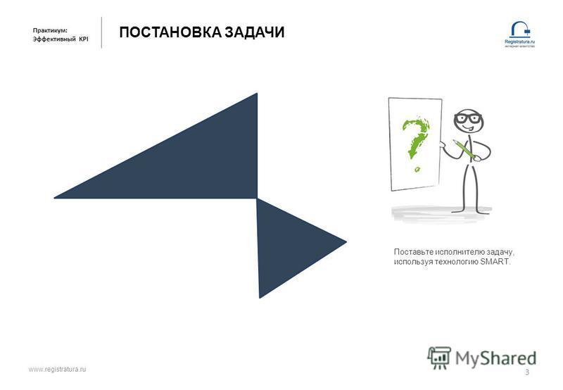 ПОСТАНОВКА ЗАДАЧИ 3 Практикум: Эффективный KPI Поставьте исполнителю задачу, используя технологию SMART. www.registratura.ru