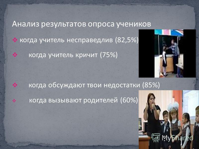 когда учитель несправедлив (82,5%) когда учитель кричит (75%) когда обсуждают твои недостатки (85%) К огда вызывают родителей (60%)