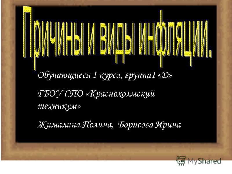 Обучающиеся 1 курса, группа 1 «Д» ГБОУ СПО «Краснохолмский техникум» Жималина Полина, Борисова Ирина