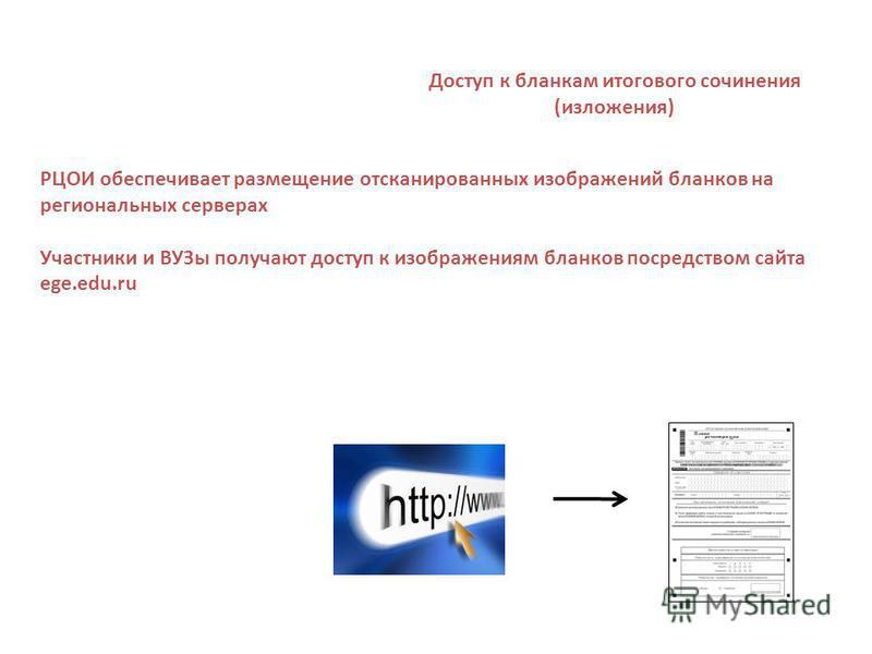 Доступ к бланкам итогового сочинения (изложения) РЦОИ обеспечивает размещение отсканированных изображений бланков на региональных серверах Участники и ВУЗы получают доступ к изображениям бланков посредством сайта ege.edu.ru
