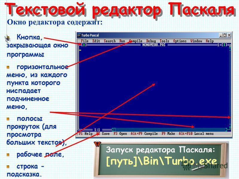 Текстовой редактор Паскаля Окно редактора содержит: Кнопка, закрывающая окно программы горизонтальное меню, из каждого пункта которого ниспадает подчиненное меню, полосы прокруток (для просмотра больших текстов), рабочее поле, строка - подсказка. Зап