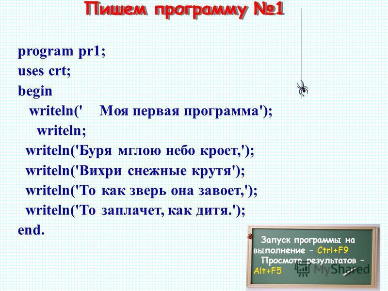Пишем программу 1 Запуск программы на выполнение – Ctrl+F9 Просмотр результатов – Alt+F5 program pr1; uses crt; begin writeln(' Моя первая программа'); writeln; writeln('Буря мглою небо кроет,'); writeln('Вихри снежные крутя'); writeln('То как зверь