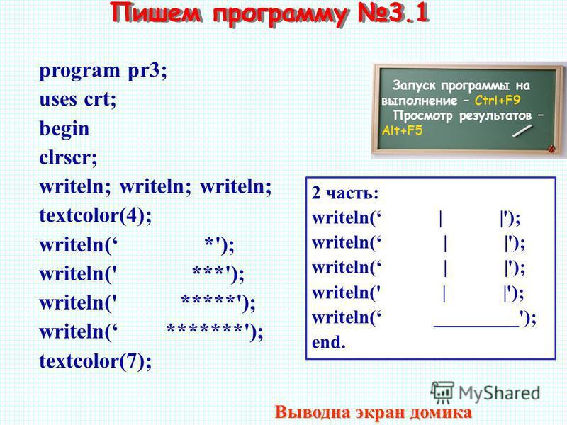Пишем программу 3.1 Запуск программы на выполнение – Ctrl+F9 Просмотр результатов – Alt+F5 program pr3; uses crt; begin clrscr; writeln; writeln; writeln; textcolor(4); writeln( *'); writeln(' ***'); writeln(' *****'); writeln( *******'); textcolor(7
