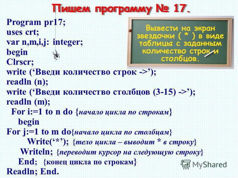 Пишем программу 17. Вывести на экран звездочки ( * ) в виде таблицы с заданным количество строк и столбцов. Program pr17; uses crt; var n,m,i,j: integer; begin Clrscr; write (Введи количество строк ->); readln (n); write (Введи количество столбцов (3