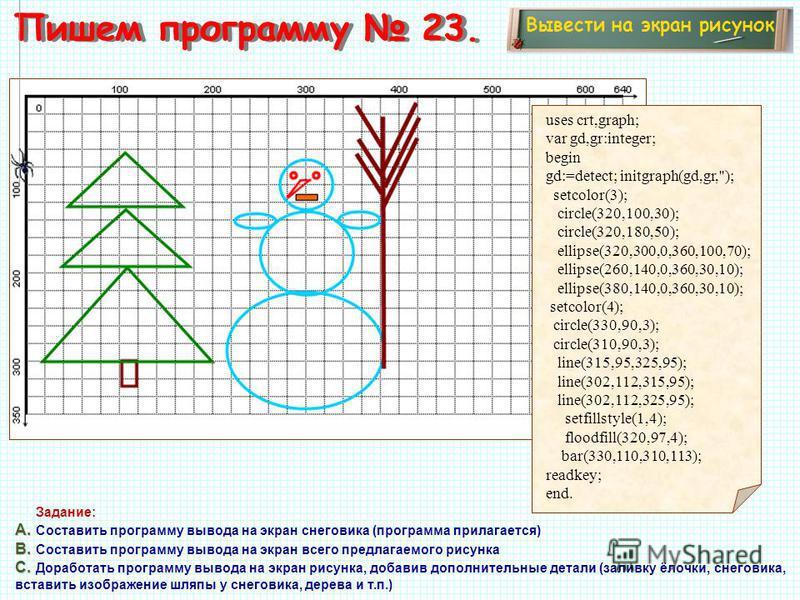 Пишем программу 23. Вывести на экран рисунок Задание: А. А. Составить программу вывода на экран снеговика (программа прилагается) В. В. Составить программу вывода на экран всего предлагаемого рисунка С. С. Доработать программу вывода на экран рисунка