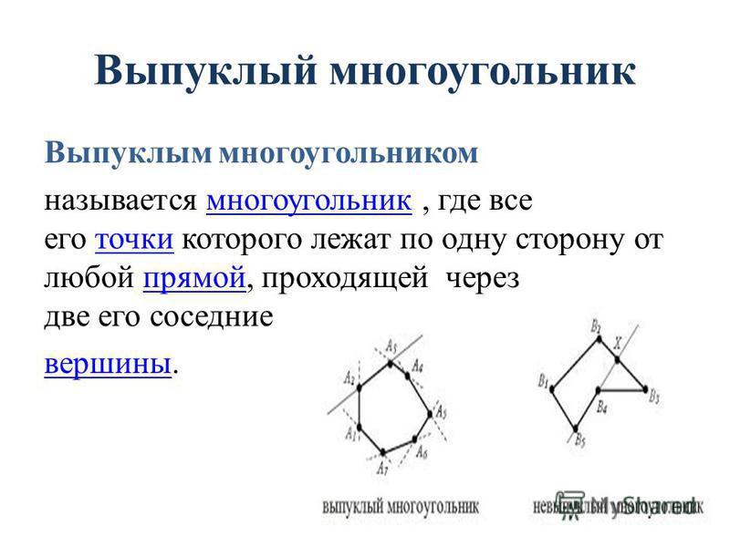 Выпуклый многоугоельник Выпуклым многоугоельником называется многоугоельник, где все его точки которого лежат по одну сторону от любой прямой, проходящей через две его соседние многоугоельник точки прямой вершины.