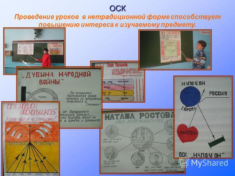 ОСК Проведение уроков в нетрадиционной форме способствует повышению интереса к изучаемому предмету.
