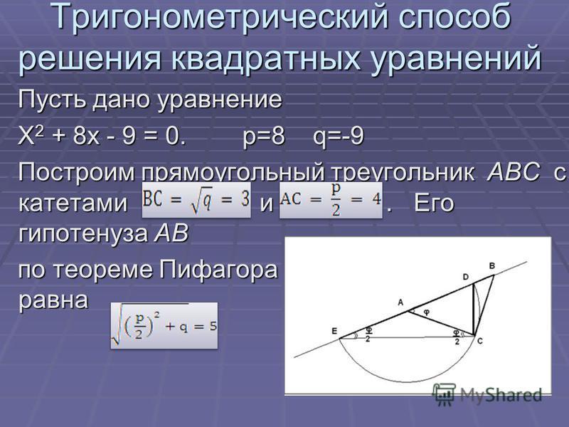 Тригонометрический способ решения квадратных уравнений Пусть дано уравнение Пусть дано уравнение X 2 + 8x - 9 = 0. p=8 q=-9 X 2 + 8x - 9 = 0. p=8 q=-9 Построим прямоугольный треугольник ABC с катетами и. Его гипотенуза AB Построим прямоугольный треуг