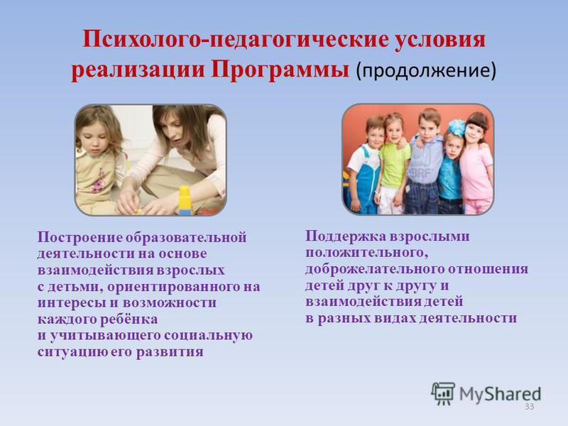 33 Построение образовательной деятельности на основе взаимодействия взрослых с детьми, ориентированного на интересы и возможности каждого ребёнка и учитывающего социальную ситуацию его развития Поддержка взрослыми положительного, доброжелательного от