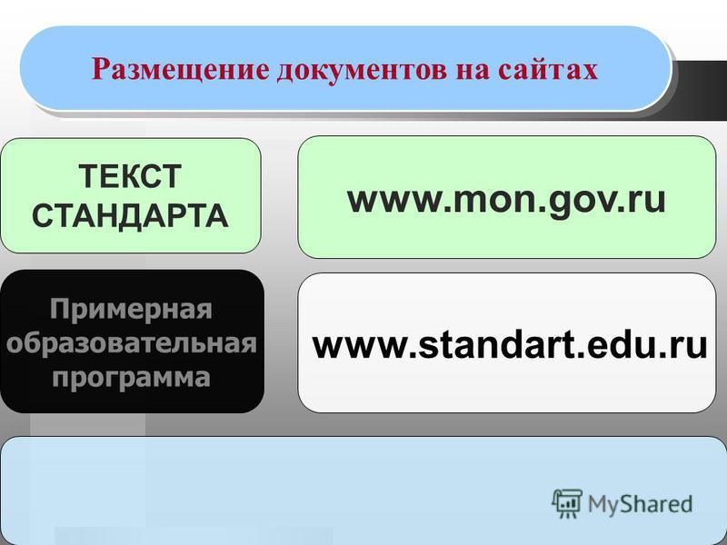 ТЕКСТ СТАНДАРТА Примерная образовательная программа Размещение документов на сайтах www.mon.gov.ru www.standart.edu.ru
