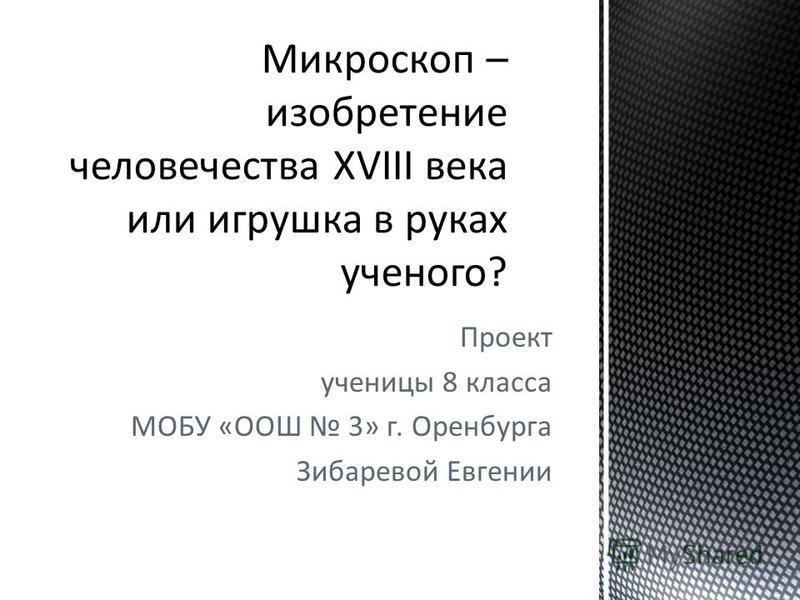 Проект ученицы 8 класса МОБУ «ООШ 3» г. Оренбурга Зибаревой Евгении