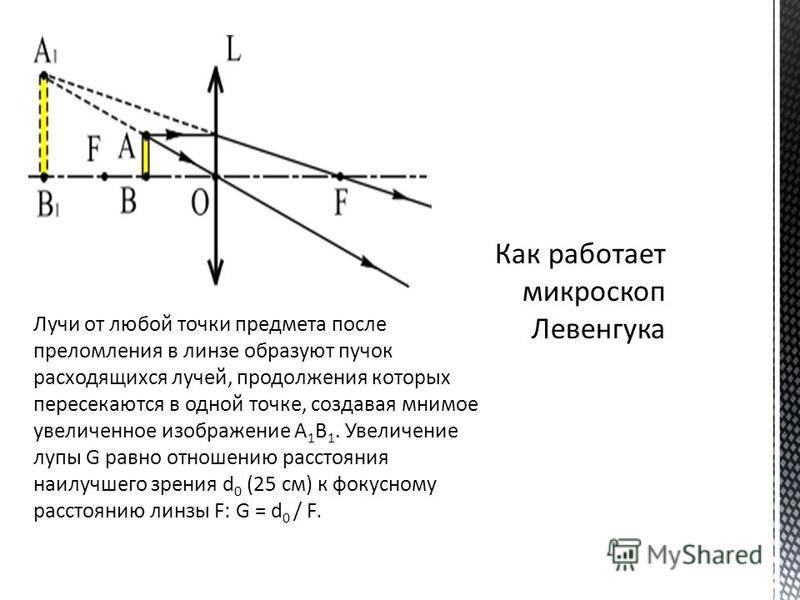 Лучи от любой точки предмета после преломления в линзе образуют пучок расходящихся лучей, продолжения которых пересекаются в одной точке, создавая мнимое увеличенное изображение А 1 В 1. Увеличение лупы G равно отношению расстояния наилучшего зрения